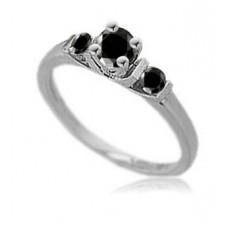 Round Black Diamond Trilogy Ring
