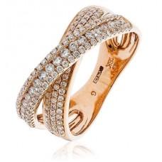 Modern Round Diamond Cross Over Dress Ring